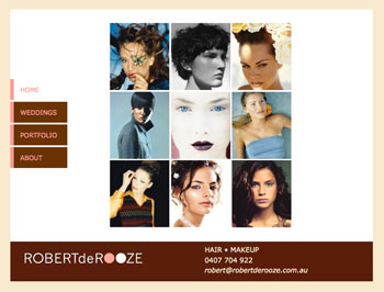 Website designed and developed by the Design Web for Sydney stylist Robert de Rooze